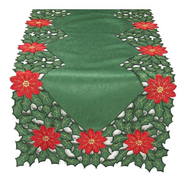 Holly Leaf Poinsettia Embroidered Cutwork Holiday Table Runner by Xia Home Fashions