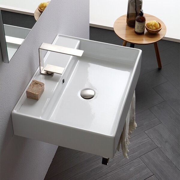Teorema Ceramic 24 Console Bathroom Sink with Overflow by Scarabeo by Nameeks