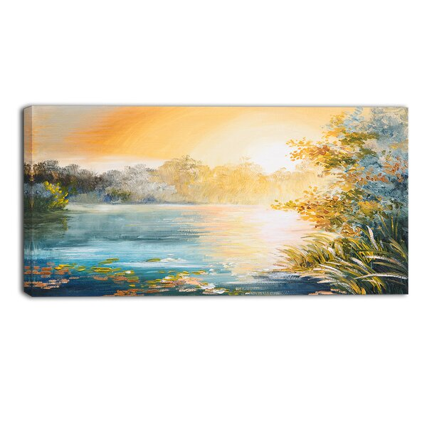 Sunset on the Lake Landscape Painting Print on Wrapped Canvas by Design Art