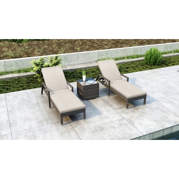 Gilleland Sun Reclining Chaise Lounge Set with Cushions and Table by Orren Ellis Orren Ellis