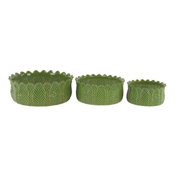 Bodine Modern Leaf 3-Piece Ceramic Pot Planter Set by Bay Isle Home