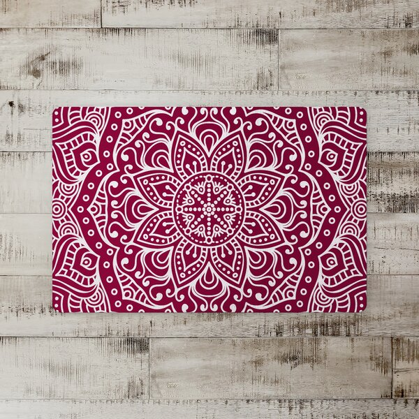 Seher Maroon Baha Medallion Kitchen Mat