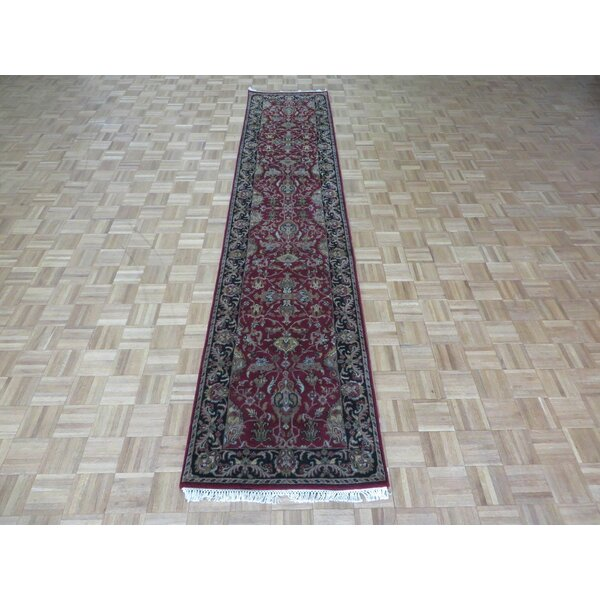 One-of-a-Kind Railey Hand-Knotted Wool Burgundy/Black Area Rug by Astoria Grand