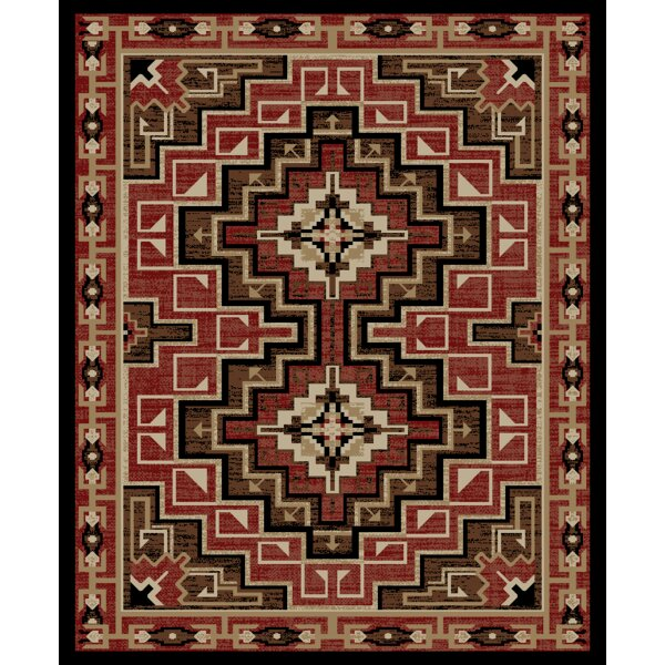 Windsor Lane Yuma Brown/Red Area Rug by Loon Peak