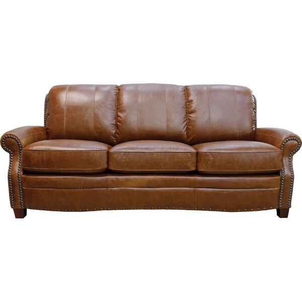 Halliburton Leather Sofa by Alcott Hill