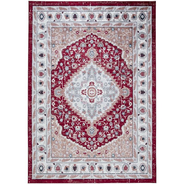 Angelmarie Power Loom Red/Ivory Rug