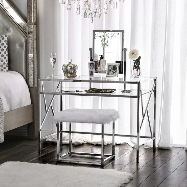 Enid Vanity Set with Stool and Mirror by Everly Quinn Everly Quinn