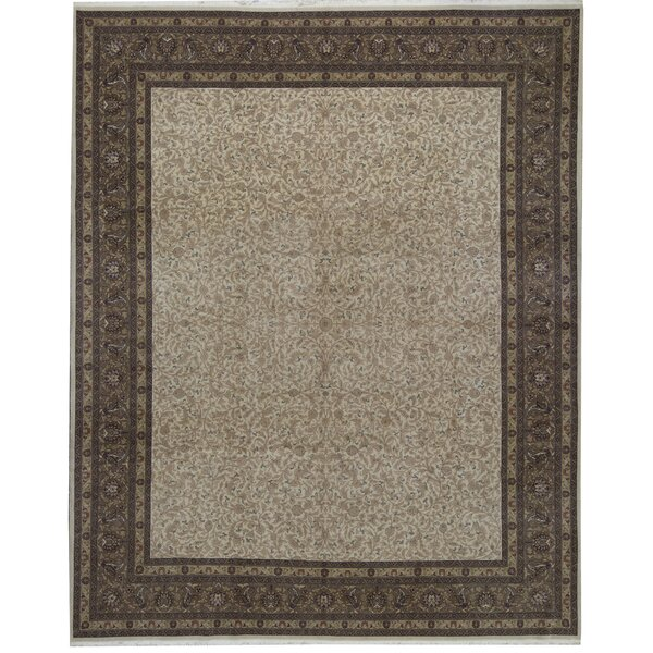 One-of-a-Kind Shah Hand-Knotted Beige/Brown 11'9 x 14'9 Wool Area Rug