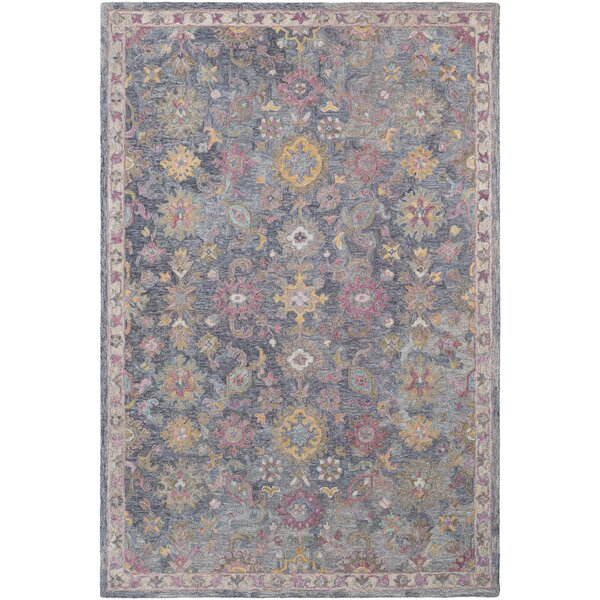 Kendall Green Hand Hooked Wool Charcoal/Khaki/Purple Area Rug by Bungalow Rose
