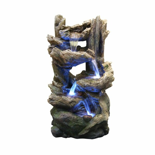 Resin Tiering Rainforest Fountain with Light by Benzara