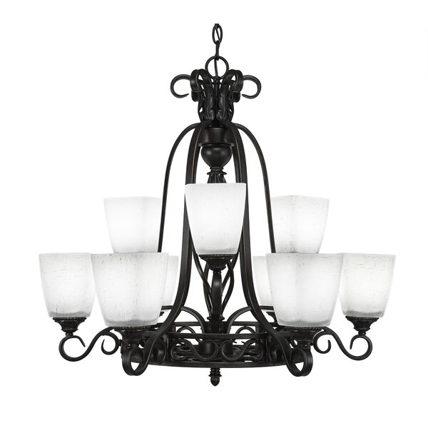 Pierro 9-Light Shaded Wagon Wheel Chandelier by Astoria Grand Astoria Grand