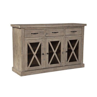 """Birch Lane Fahey 58"""" Wide 3 Drawer Acacia Wood Sideboard  Color: Weathered Natural Finish"""