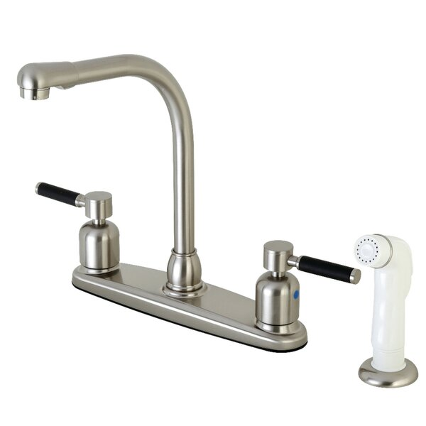 Kaiser Double Handle Kitchen Faucet with Side Spray by Kingston Brass