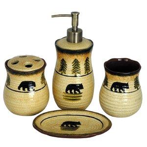 Grotto Bear 4 Piece Bathroom Accessory Set