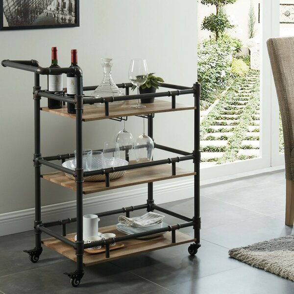 Nickolas Rustic 3 Tier Wood and Metal Bar Cart by 17 Stories