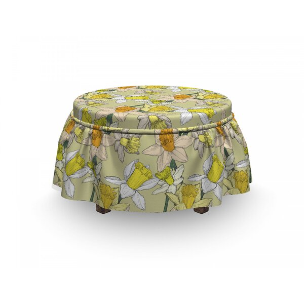 Jonquil Bouquet Ottoman Slipcover (Set Of 2) By East Urban Home
