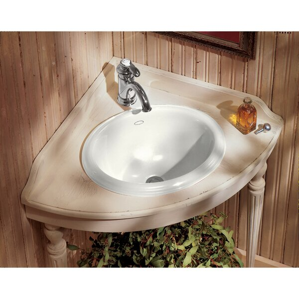 Intaglio Ceramic Oval Drop-In Bathroom Sink by Koh