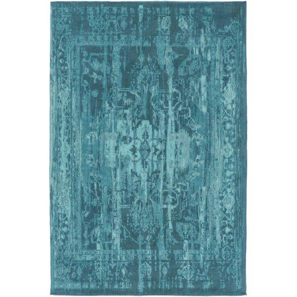 world menagerie mcintosh hand-woven teal area rug & reviews | wayfair