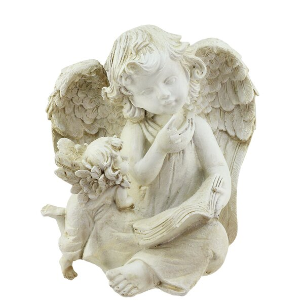 Sitting Angel with Book and Friend Outdoor Patio Garden Statue by Northlight Seasonal
