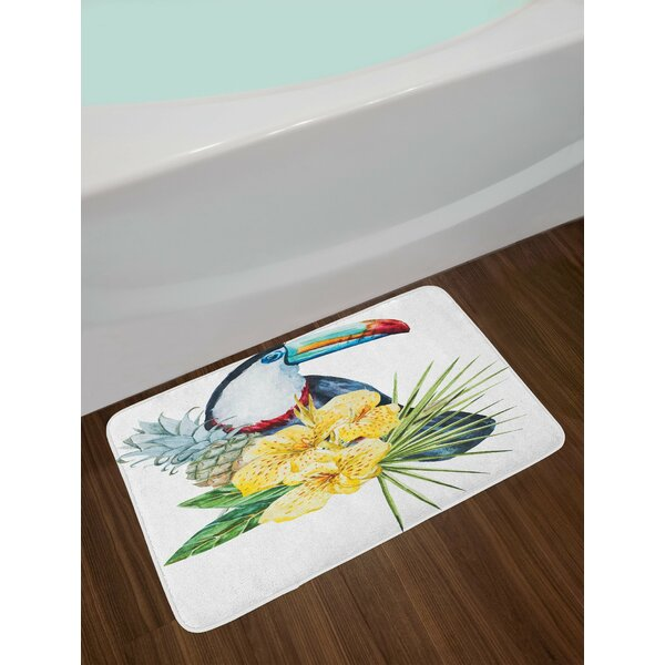 Tropical Animals Toucan Bird with Exotic Hibiscus and Orchids Flower and Palm Plants Leaf Non-Slip Plush Bath Rug by East Urban Home