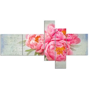 'Pink Peony Flowers in White Vase' Print Multi-Piece Image on Canvas by East Urban Home