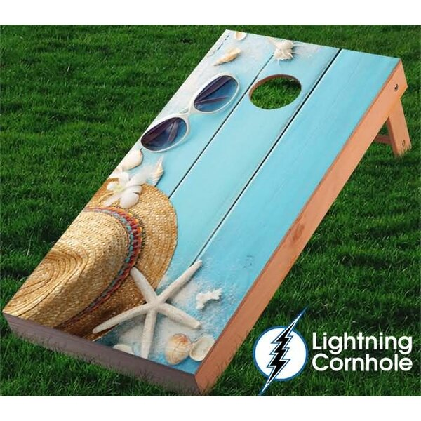 Plank and Glasses Cornhole Board by Lightning Cornhole
