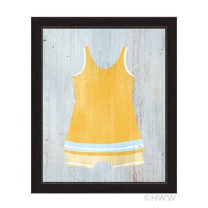 Vintage Yellow Beach Outfit Illustration Framed Graphic Art by Click Wall Art