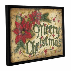 Merry Christmas Framed Textual Art on Wrapped Canvas by The Holiday Aisle