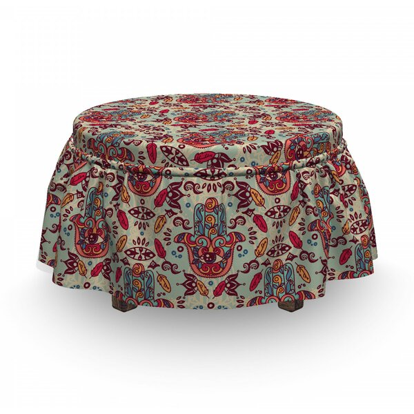 Great Deals Hamsa Motifs 2 Piece Box Cushion Ottoman Slipcover Set