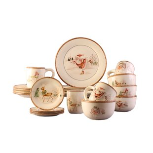 christmas twig 20 piece dinnerware set service for 4 - Christmas China Sets