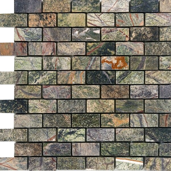 1 x 2 Marble Mosaic Tile in Rain Forest Green by Epoch Architectural Surfaces