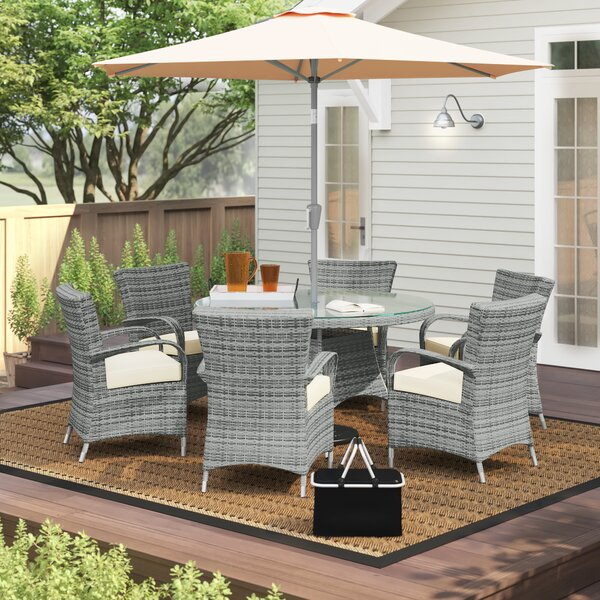 Anntonette 7 Piece Dining Set with Cushion by Latitude Run