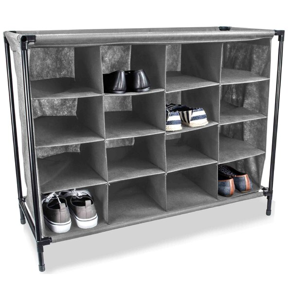 16-Compartment 16 Pair Shoe Rack by Sunbeam