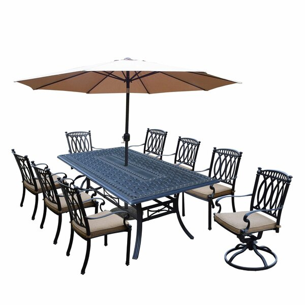 Otsego 9 Piece Rust Resistant Aluminum Dining Set with Cushions by Darby Home Co