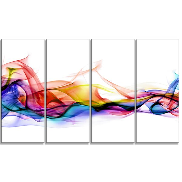 Abstract Smoke Contemporary 4 Piece Graphic Art on Wrapped Canvas Set by Design Art