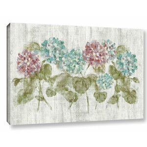 Vibrant Row of Hydrangea Painting Print on Wrapped Canvas by Lark Manor