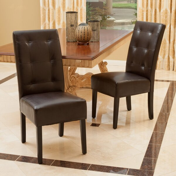 Schuster Genuine Leather Upholstered Dining Chair (Set of 2) by Winston Porter