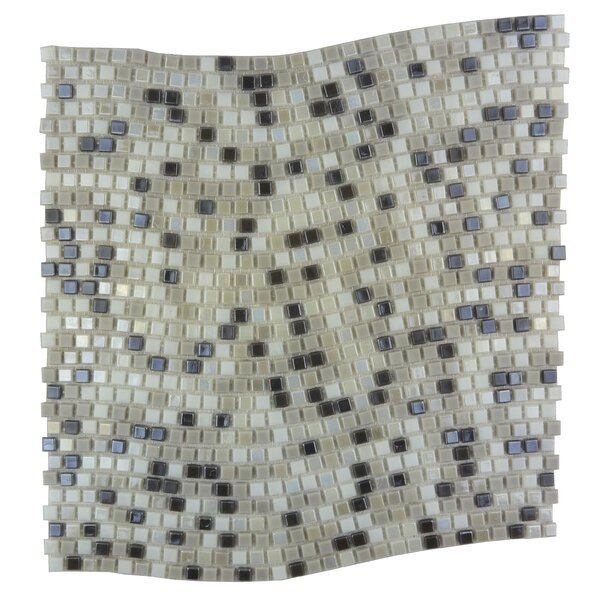 Galaxy Wavy 0.31 x 0.31 Glass Mosaic Tile in Gray by Abolos
