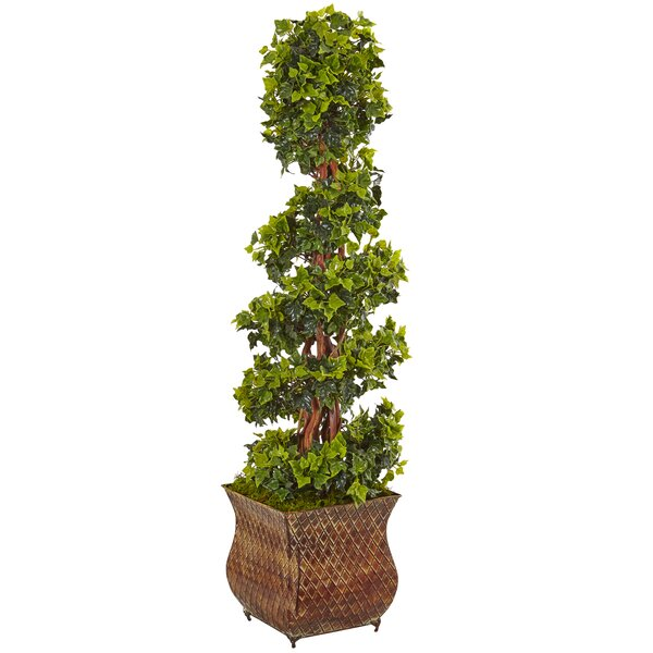Artificial English Spiral Floor Ivy Topiary in Planter by Fleur De Lis Living