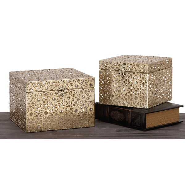 Champagne Keepsake 2 Piece Decorative Box Set by Urban Designs