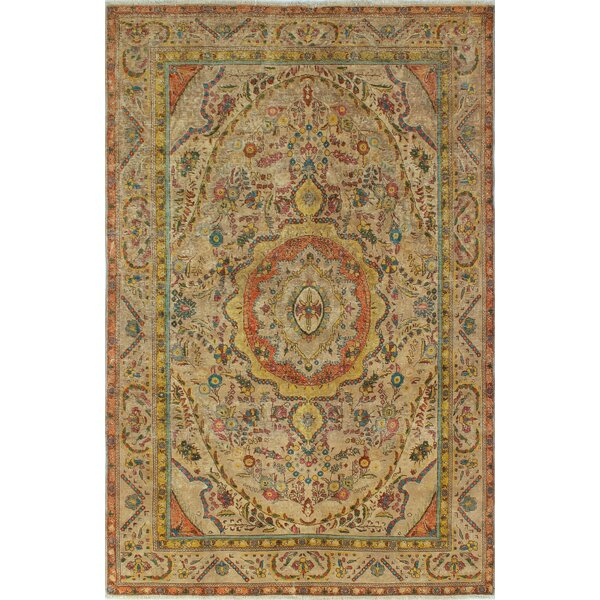 Burrows Bay Vintage Distressed Overdyed Hand Knotted Wool Beige Area Rug by Bloomsbury Market