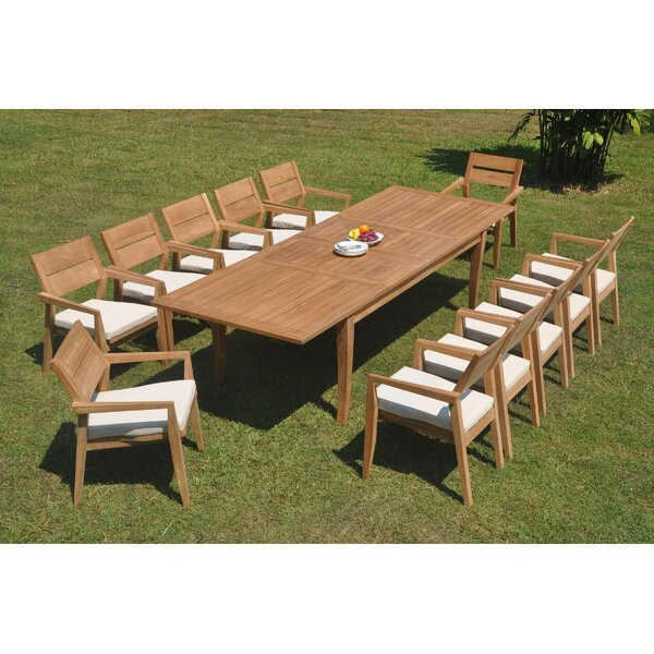 Freddy 13 Piece Teak Dining Set by Rosecliff Heights