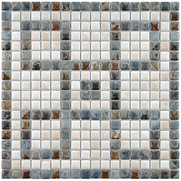 Samoan Greek Key 0.56 x 0.56 Porcelain Mosaic Tile in Gray/White by EliteTile