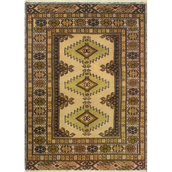 One-Of-A-Kind Brook Hand-Knotted Wool Brown/Beach Area Rug by Isabelline