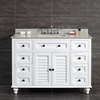 Heather 48 Single Tiger Granite Top and Rectangular Basin Vanity Set by Ove Decors