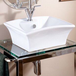 Purchase Pedestal Ceramic Rectangular Vessel Bathroom Sink with Overflow By DECOLAV