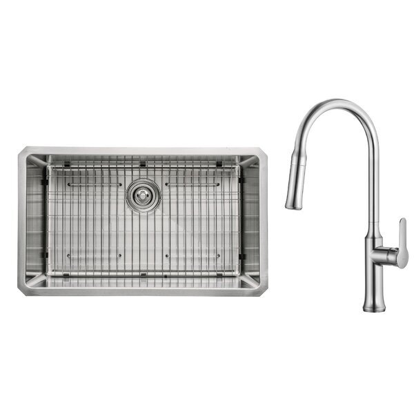Kitchen Combos 30 L x 18 W Undermount Kitchen Sink with Faucet by Kraus
