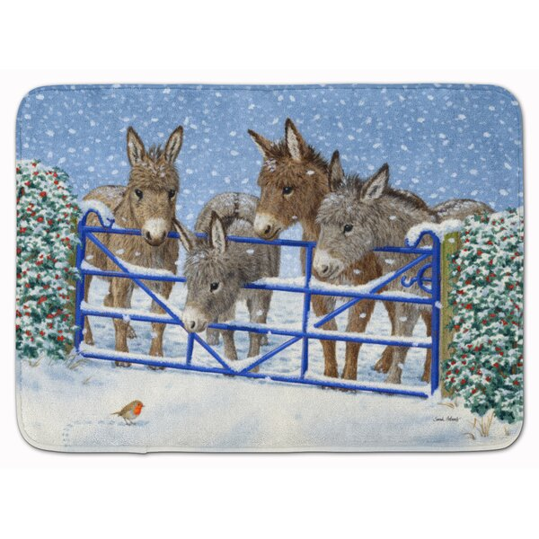 Donkeys and Robin at the Fence Rectangle Microfiber Non-Slip Bath Rug