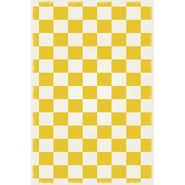 DiMartino Checker Yellow/White Indoor/Outdoor Area Rug by Winston Porter