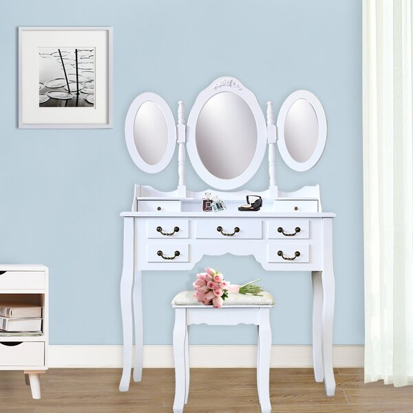 Janay 7 Drawer Vanity Set with Folding Mirror by Ophelia & Co.